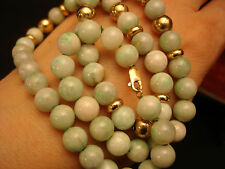 """VINTAGE CHINESE JADE 8MM BEAD NECKLACE / 14K YELLOW GOLD BEAD 19"""""""