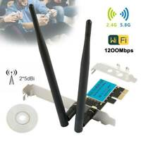 1200Mbps PCI-E Wireless WiFi Card 2.4/5GHz Dual Band Network Adapter Desktop