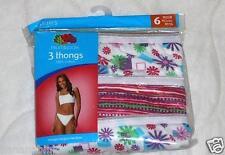 3pr Fruit of the Loom Cotton Thongs Panties  Print Size 6 Medium