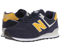 New Balance 574 Mens Classic Suede Sneakers Pigment Navy Yellow
