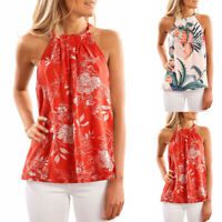Women Fashion Sleeveless Halter Neck Floral Print Tank Top Casual Blouse T-shirt