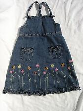GYMBOREE Girls Floral Jeans Jumper Dress Size 5  , 100% cotton