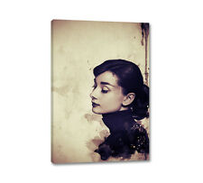 Audrey Hepburn Portrait 90x60cm Leinwandbild Vintage Aquarell Wandbilder CaroArt
