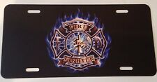 """Fire Fighter Aluminum License Plate Tag Novelty 6"""" X 12"""" (LOGO WITH BLUE FLAMES)"""