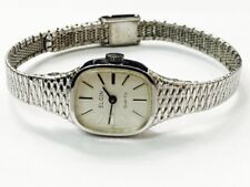 Vintage Elgin Quartz Silver Tone Ladies Wrist Watch Very Elegant(E25/50