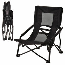 Outdoor High Back Folding Beach Chair Camping Furniture Portable Mesh Seat Black