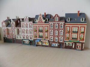 6 low relief (Faller) buildings HO scale for model railways 1:87 houses/shops