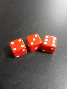 """Board Game Replacement Parts Pieces - 3 D6 Red Dice Slightly Oversized 11/16"""""""