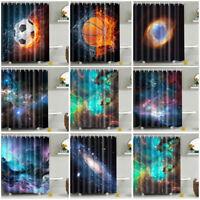 Shower Curtain With 12 Hooks Beautiful Night Sky Fabric Waterproof Bath Bathroom