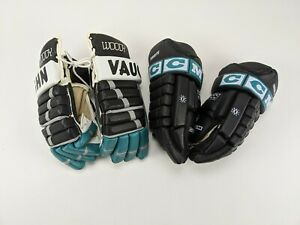 Lot of 2 Sets of 1995-97 San Jose Sharks UNUSED Hockey Gloves Turcotte & Woody