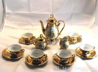VINTAGE GOLD PLATED BAVARIAN TEA SET-TEA POT-CREAMER-SUGAR BOWL-6 CUPS & SAUCER