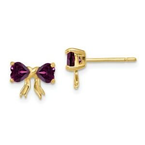 14k Gold Polished Rhodolite Bow Post Earrings