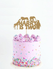 Birthday Jungle cake topper age Glitter Personalised Customised Name 1 2 3 4 5