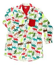 LazyOne Womens Pattern Moose Flannel Nightshirt Small BNS351A 9f4a37de4