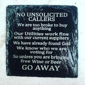 no cold callers Laser Engraved Slate Door sign unsolicited callers