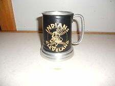 1980's Cleveland Indians Leather Decal Strap Metal Mug with Glass Bottom NICE