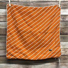 """NWT Lacoste Skiff Pillow Cover Zipper Orange White Stripe Knit 18"""" Square"""