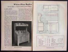 Pennsylvania Dutch Water Bench Buffet 1941 How-To build PLANS