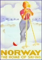 Norway 1930 Home Of Skiing Woman Skier Vintage Poster Print Retro Travel  Art