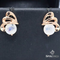 Authentic Round Moonstone Earrings 925 Sterling Silver Women Wedding Jewelry