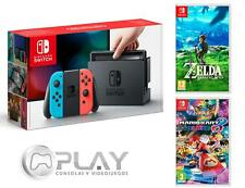 NINTENDO SWITCH Azul/Rojo Neón 32Gb + Mario Kart 8 + Zelda Breath Of The Wild