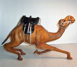 Old CAMEL Hand Crafted Leather Art Sculpture Statue Figurine Vintage Antique 16""
