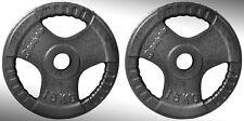 Hierro Fundido Tri Agarre Placas Para Pesas 2x 15kg Ajustada 5.1cm Olímpico