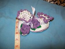 BABY GIRLS BOOTIES Fancy Flower Crochet White & Purple Size NB to 3 Months