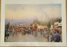 THOMAS KINKADE AUBURN, CALIFORNIA MAIN ST COURTHOUSE PRINT, S/N W/COA, BRASS TAG