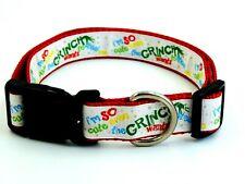 "Grinch Christmas 1"" Width Adjustable Nylon Dog Collar - XL"