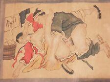 """Estampe sexuelle Japonaise 19 ème """" shunga """" ou """" images de printemps """"."""