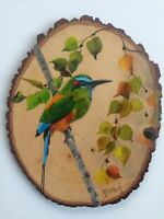 Tropical Bird painting Original WaterColor Basswood Round