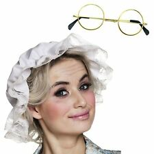 Ladies White Mop Cap Victorian Nanny Grandma Hat + Round Glasses Spectacles Set