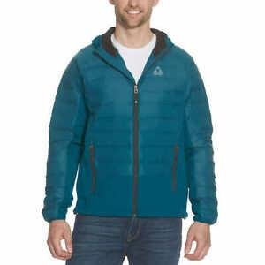 Gerry Men's Hybrid Sweater Down Jacket M Blue Soft Shell Hood Lightweight Puffer