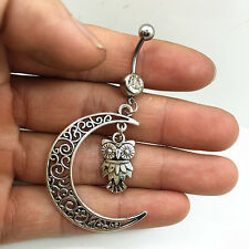 Steel Moon+owl white Crystal Navel Belly Button Ring Body Piercing Jewelry ..