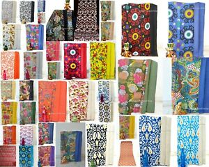 New Indian Fruit Print Handmade Kantha-Work Quilt Bed Cover Twin Size Bedspread