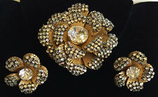Vintage Miriam Haskell Brooch Earrings Set~Clear RS/Crystals/Russian GP Filigree