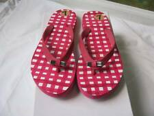 Coach Amel Pink & White Checkered Rubber Flip Flops with Silver Bow Size 7 NEW