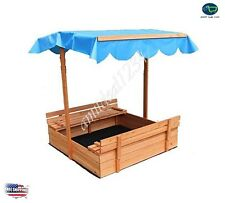 Covered Convertible Cedar Sandbox Canopy 2 Bench Seats Kids Outdoor Sand Pit NEW