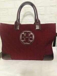 Tory Burch Ella Quilted Tote  Burgundy Leather Trimming Large🌹🥀