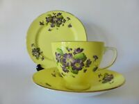 Old Royal Violets Bone China Trio, Vintage Yellow Floral Tea Cup, Saucer & Plate