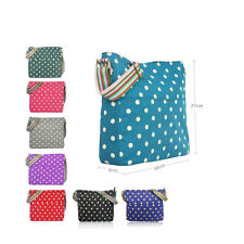 Ladies Polka Dot Spot Spotty Canvas Shoulder Bag Cross Body Messenger School Bag