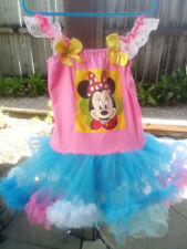 Blue and Pink Tutu Dress with Mickey Mouse Print