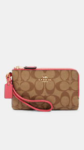NWT COACH DOUBLE CORNER ZIP WRISTLET IN SIGNATURE CANVAS SEALED & UNOPENED