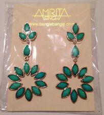 & 18k Gold Plate Over Brass New Amrita Singh Greenport Dangle Earrings Turquoise