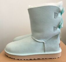 UGG Womens Bailey Bow II Boots Aqua Size 9 Warm Sheepskin Winter Water Resistant