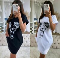 Women Ladies Disney Mickey Print Baggy Oversized Pocket T-Shirt Dress Blouse Top