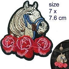 Horse head Iron on patch mane rose Equestrian Racing Riding pony iron-on patches