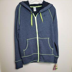 New Zumba Wear Orbit Instructor Hoodie Women Medium  Gray Green Accent Full Zip