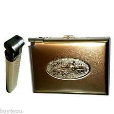Zigarettenetui Metall mit Feuerzeug Tabak Zigaretten Schachtel Case Army Militär